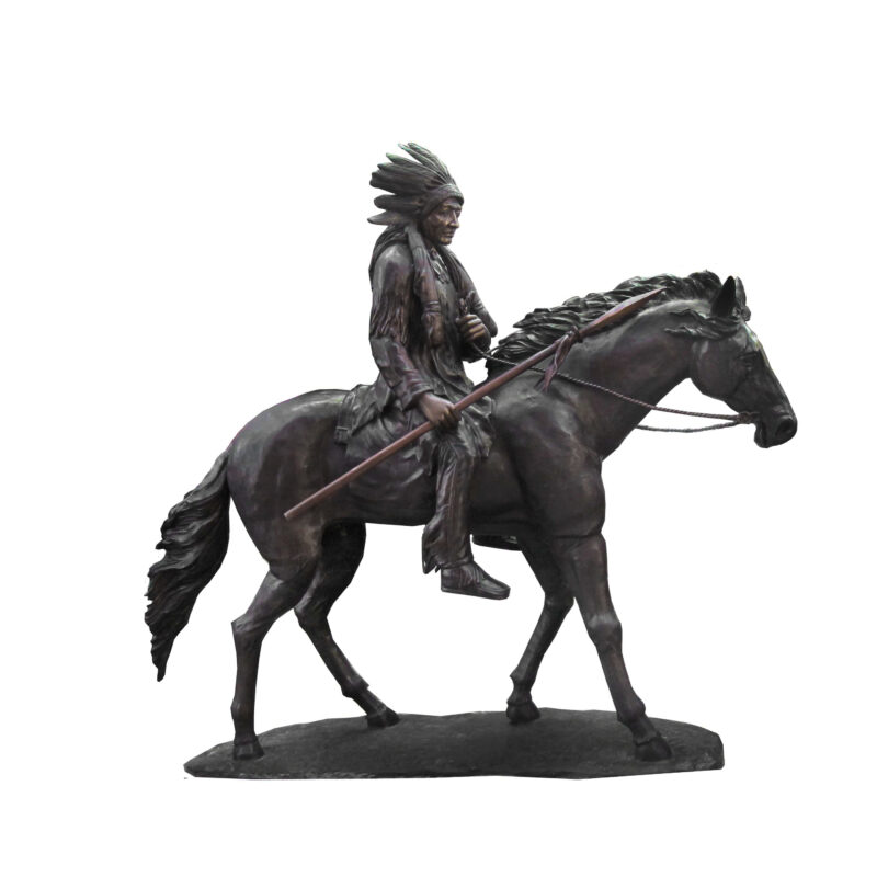 SRB706691 Bronze Indian on Horse Sculpture by Metropolitan Galleries Inc