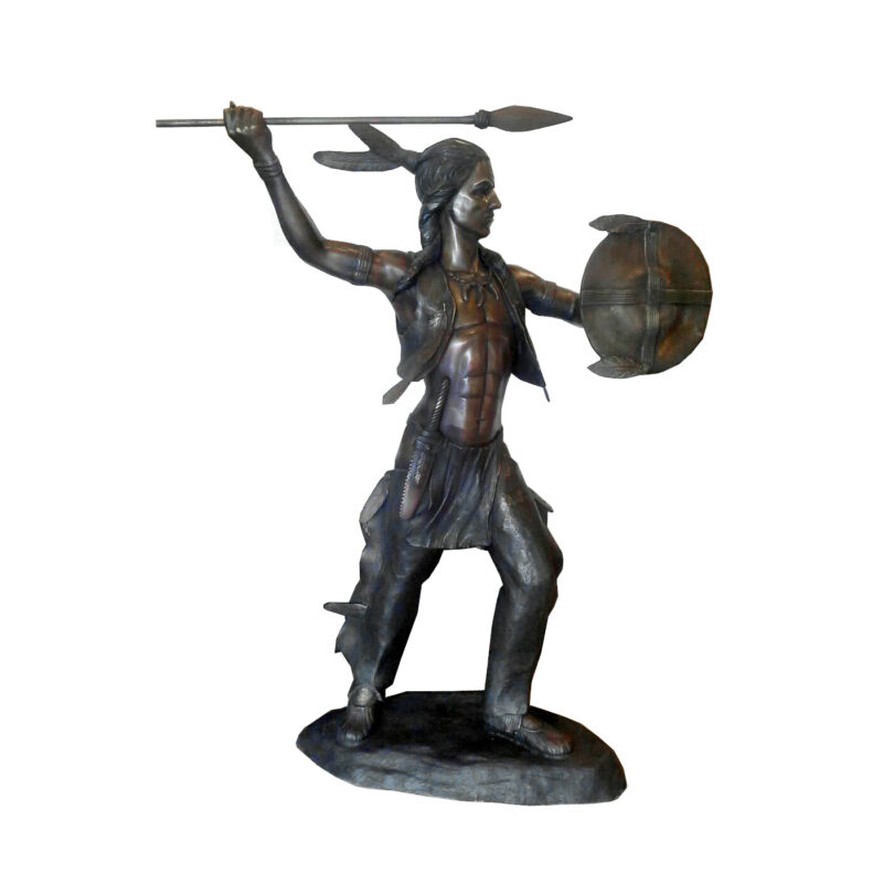 SRB707260 Bronze Indian Warrior Sculpture by Metropolitan Galleries Inc