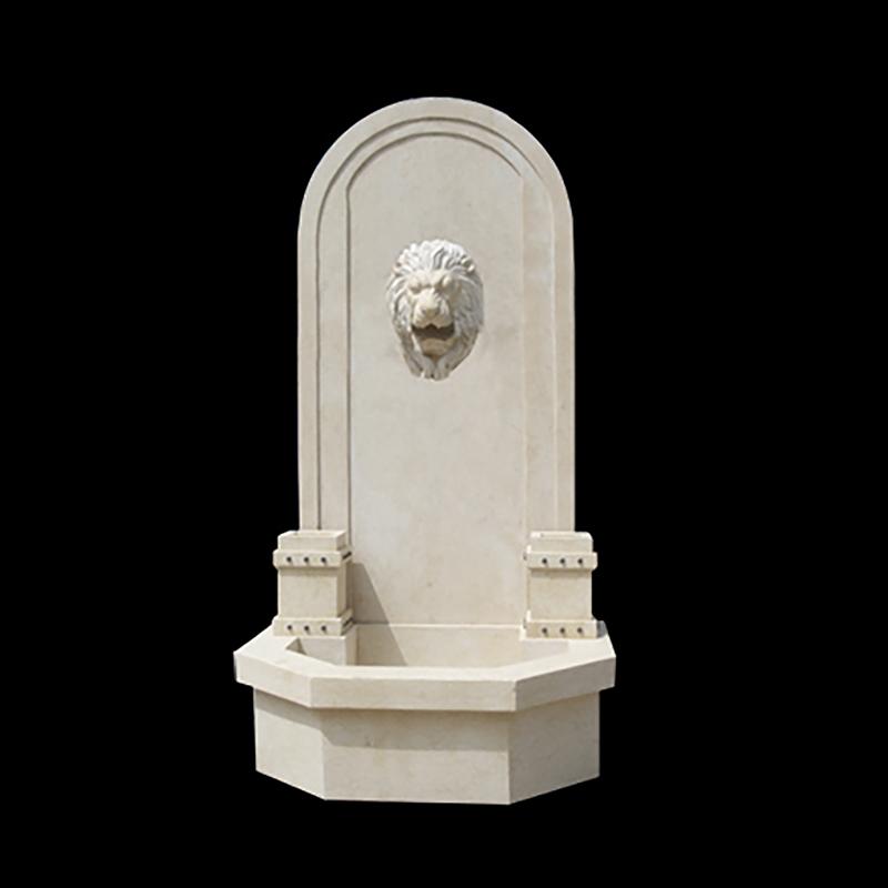 JBF2010 Marble Lion Head Wall Fountain in Egyptian Beige by Metropolitan Galleries Inc