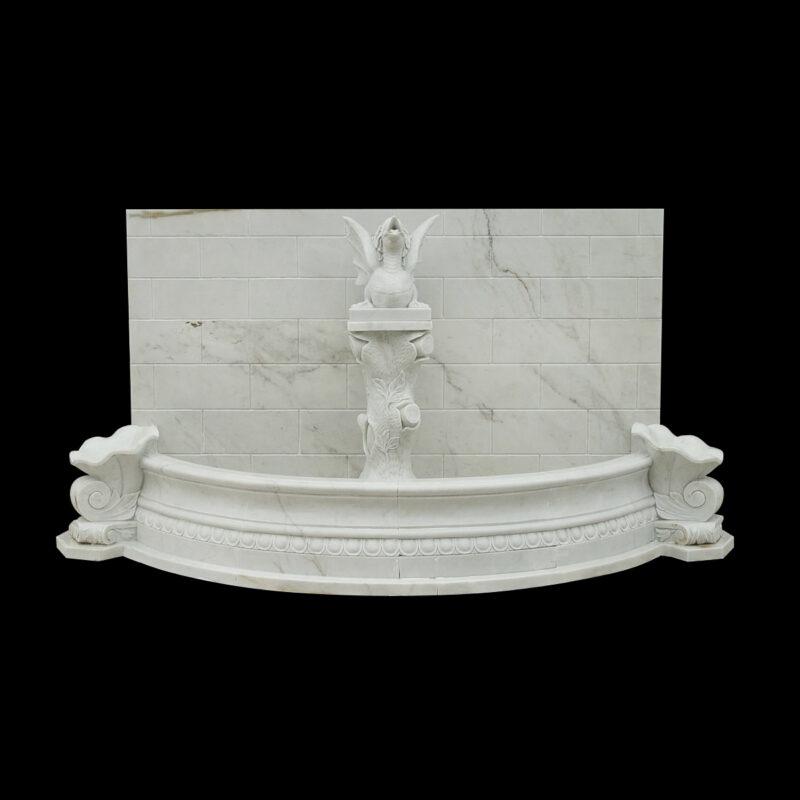 JBF2014 Marble Dragon Wall Fountain in Masha White by Metropolitan Galleries Inc