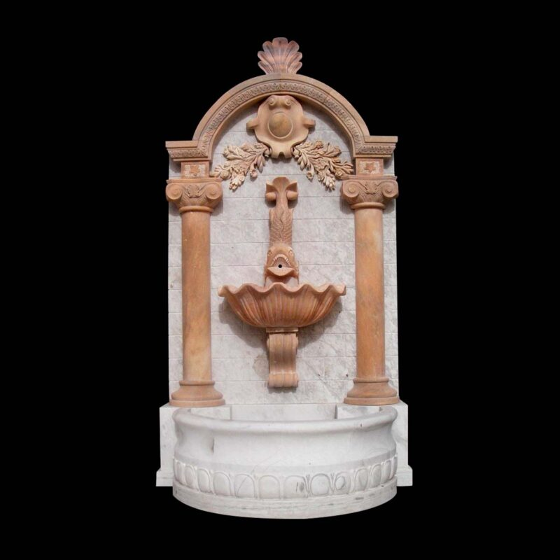 JBF2018 Marble Traditional Wall Fountain in Combination Stone by Metropolitan Galleries Inc