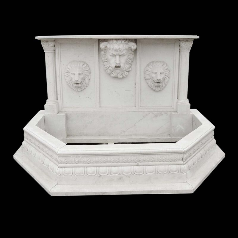 JBF2021 Marble Zeus & Lions Head Wall Fountain in Masha White by Metropolitan Galleries Inc
