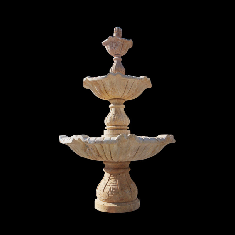 JBF253 Marble Three Tier Fountain in Travertine Stone by Metropolitan Galleries Inc.