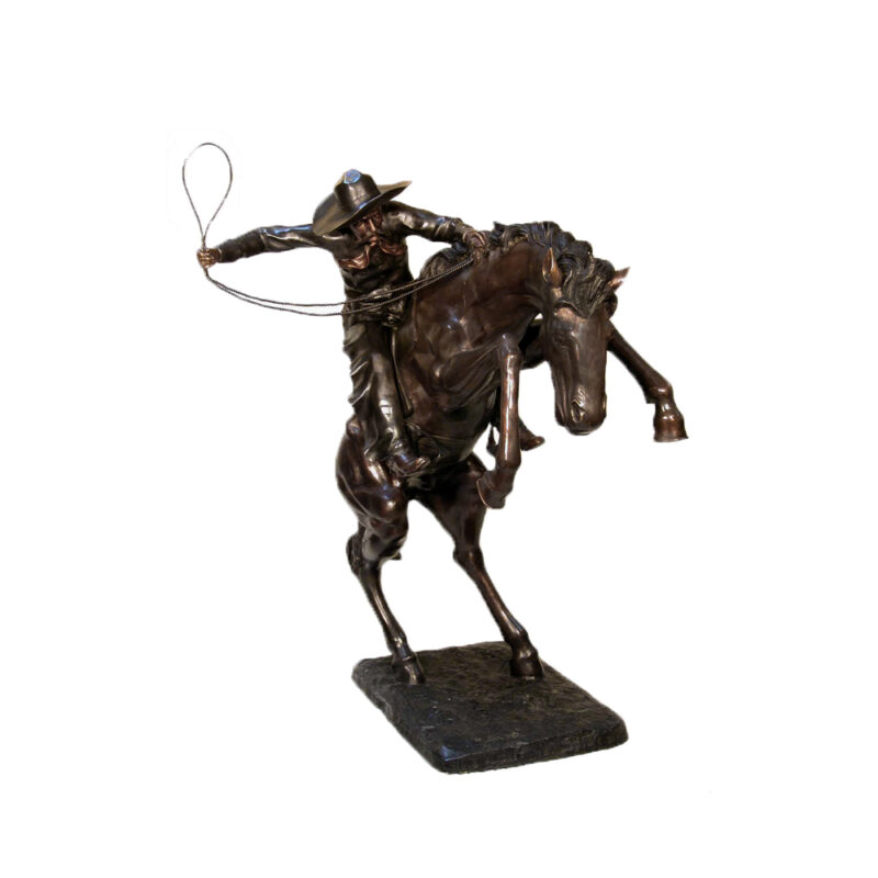 SRB074045 Bronze Frederick Remington Busting Bronco Sculpture by Metropolitan Galleries Inc