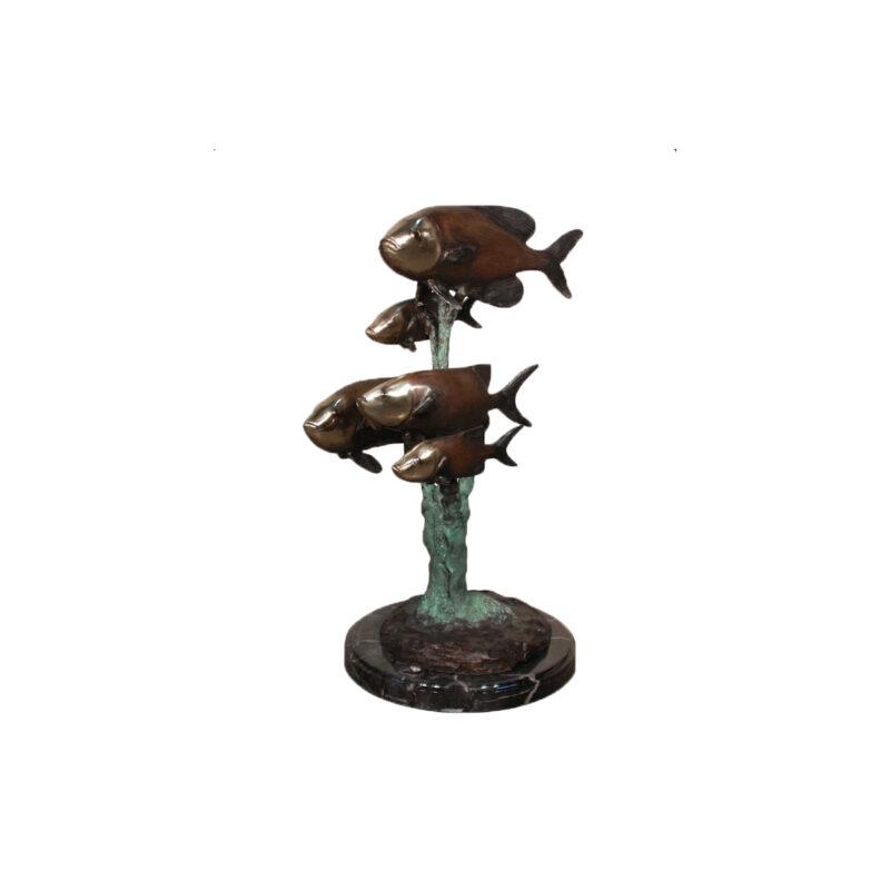 SRB094143 Bronze Trout School Sculpture on Marble Base by Metropolitan Galleries Inc
