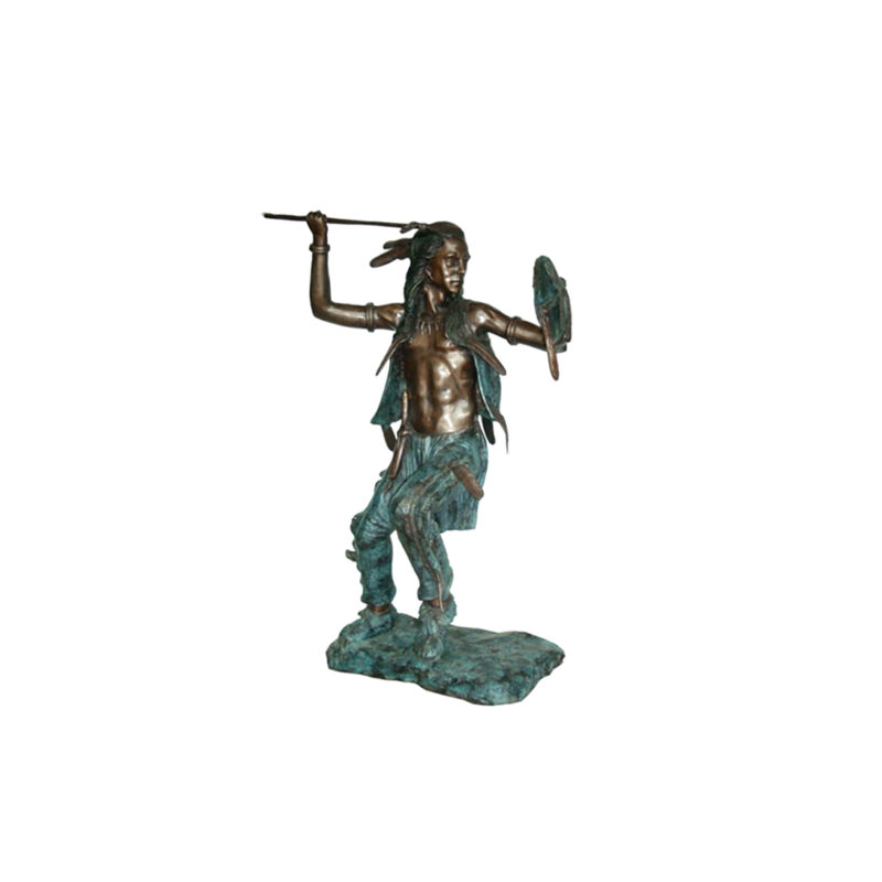 SRB705177 Bronze Indian with Spear Sculpture by Metropolitan Galleries Inc