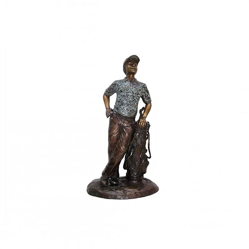 SRB706045 Bronze Male Golfer leaning on Golf Clubs Sculpture by Metropolitan Galleries Inc.