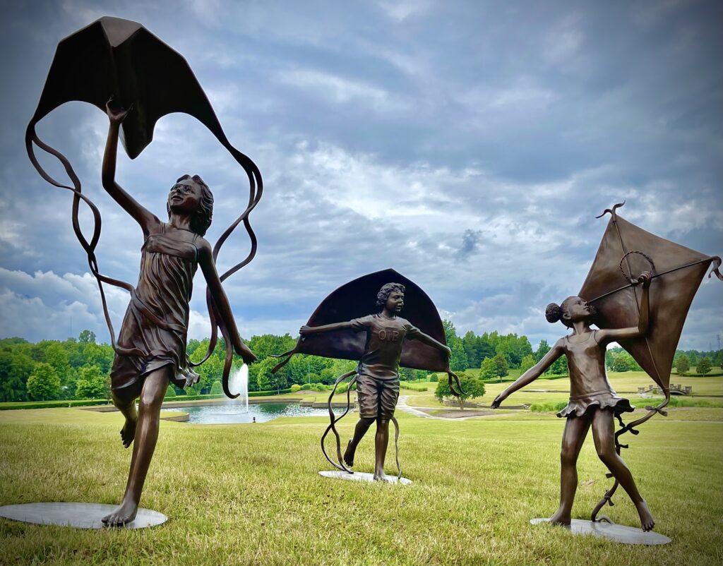 Children Flying Kites Bronze Sculpture Set Designed & Produced by Metropolitan Galleries Inc