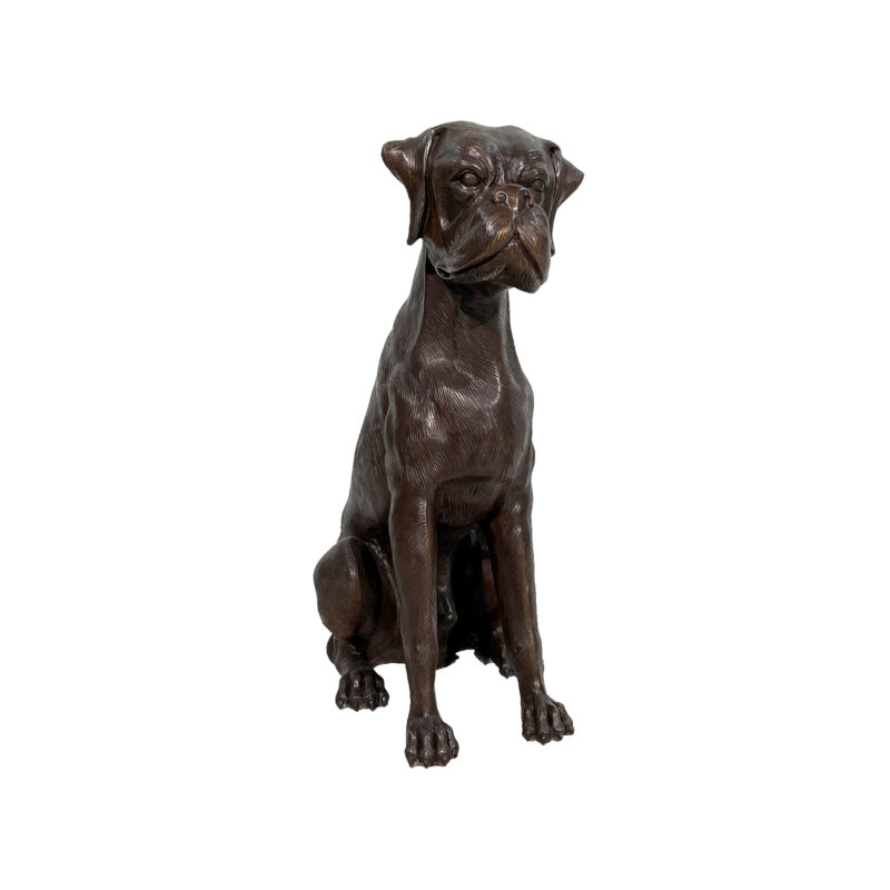SRB059555-M Bronze Sitting Boxer Sculpture by Metropolitan Galleries Inc