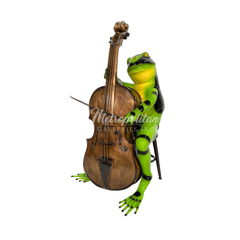 SRB41012 Bronze Colorful Frog playing Cello Sculpture in Bright Green Finish by Metropolitan Galleries Inc