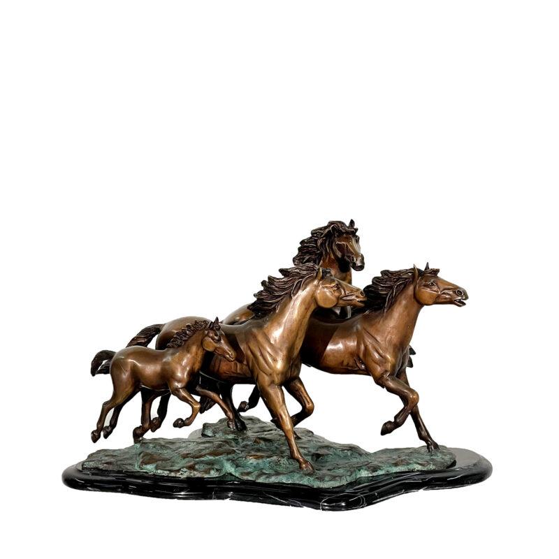 SRB48529 Bronze Herd of Wild Mustangs Sculpture on Marble Base by Metropolitan Galleries Inc