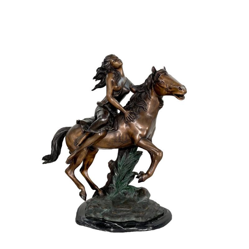 SRB49239 Bronze 'Free Spirit' Girl riding Horse Sculpture on Marble Base by Metropolitan Galleries Inc