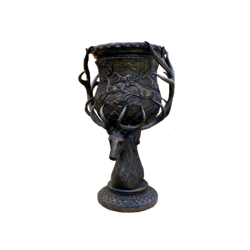 SRB703384 Bronze Deer Head Planter Urn Medium Size by Metropolitan Galleries Inc