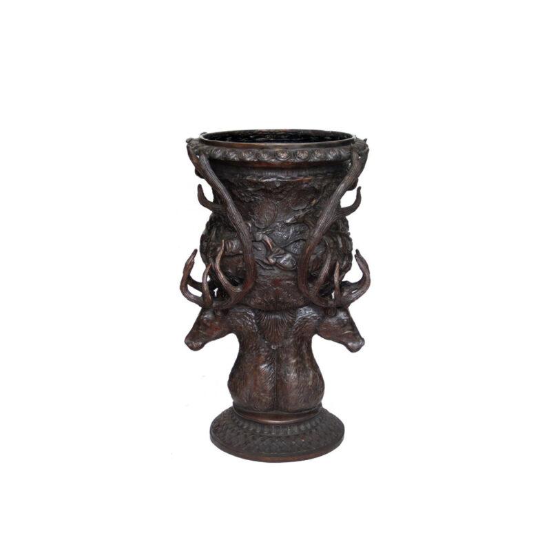 SRB704729 Bronze Deer Head Planter Urn Small Size by Metropolitan Galleries Inc