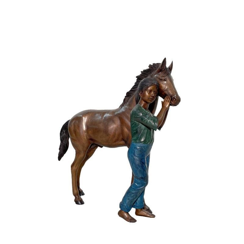 SRB48709 Bronze Standing Girl with Pony Sculpture by Metropolitan Galleries Inc