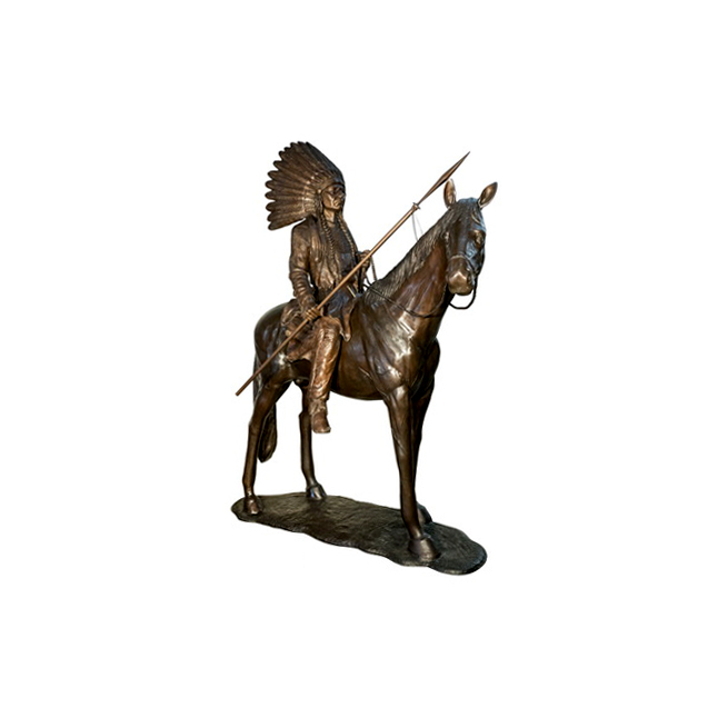 SRB097174 Bronze Indian on Horse Sculpture by Metropolitan Galleries Inc