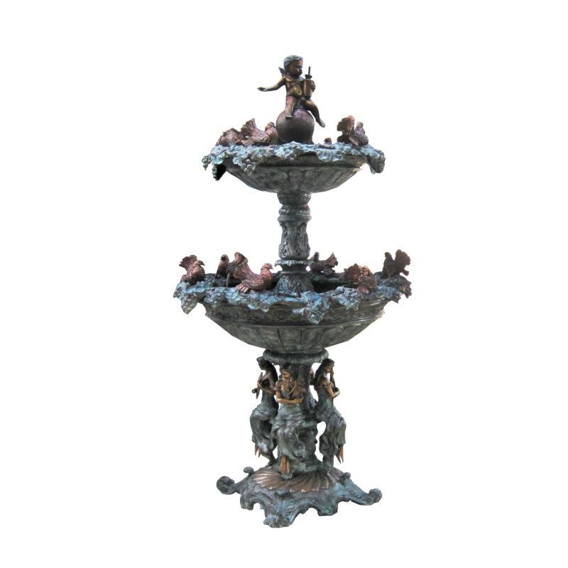 SRB704462 Bronze Bird Bevy Lady Musicians Tier Fountain by Metropolitan Galleries Inc