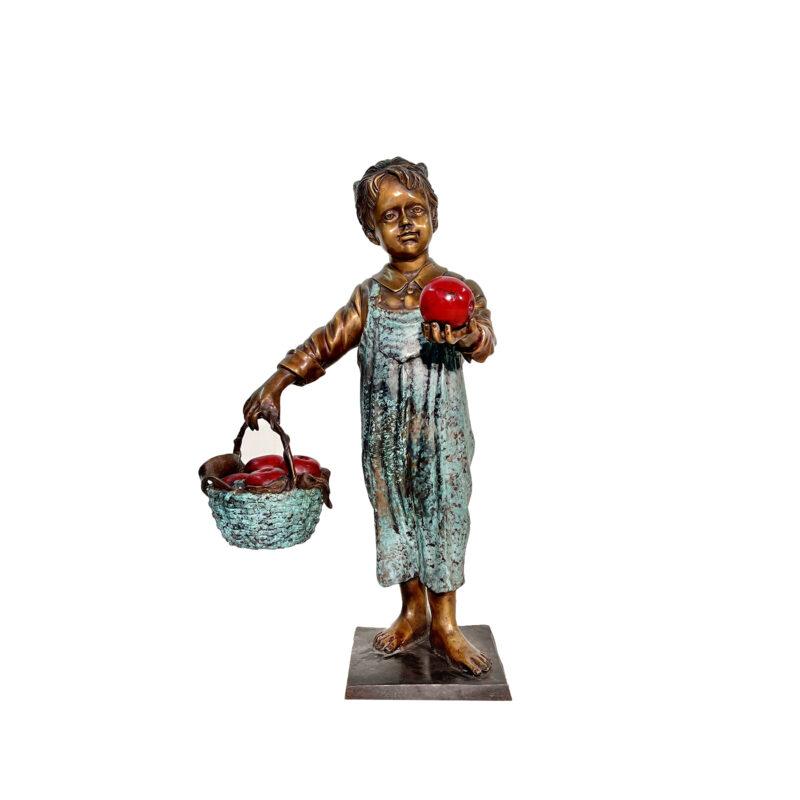 SRB705126 Bronze Girl holding Basket of Apples Sculpture by Metropolitan Galleries Inc