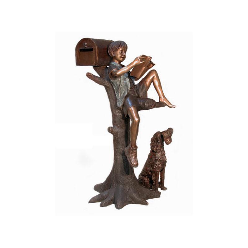 SRB050215 Bronze Boy Reading with Shoe Thief Dog Mailbox Sculpture by Metropolitan Galleries Inc