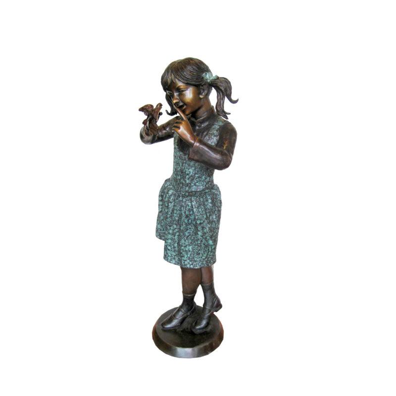 SRB707017 Bronze Standing Girl with Bird Sculpture by Metropolitan Galleries Inc