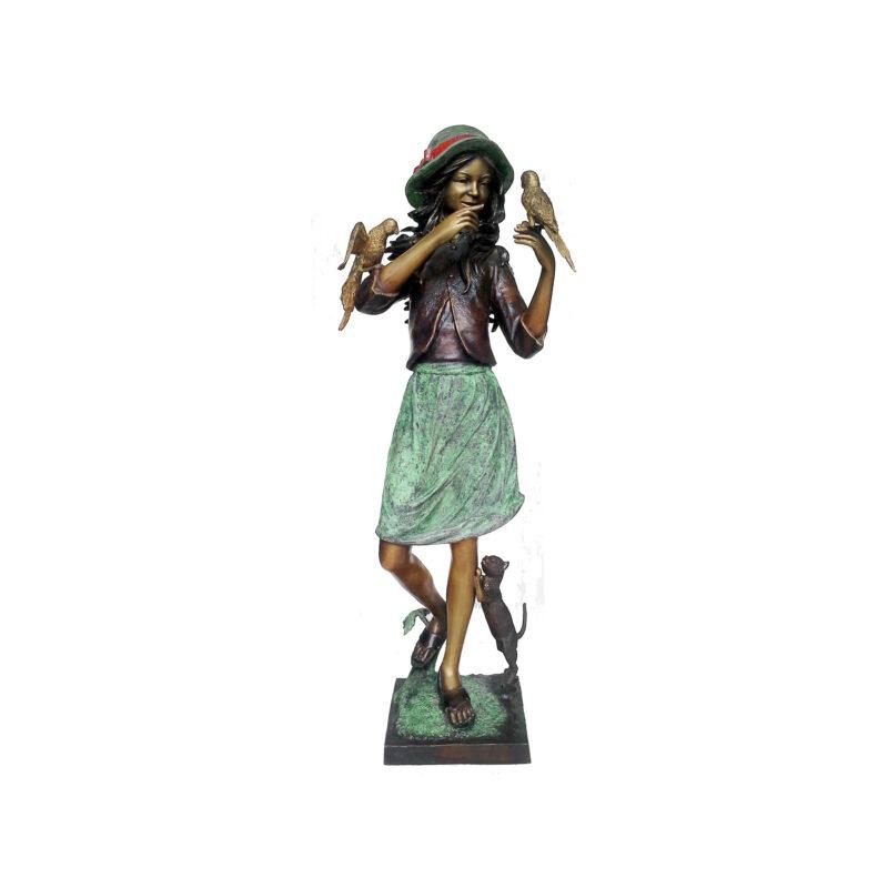 SRB707369 Bronze 'Amelia' Girl with Birds & Cat Sculpture by Metropolitan Galleries Inc