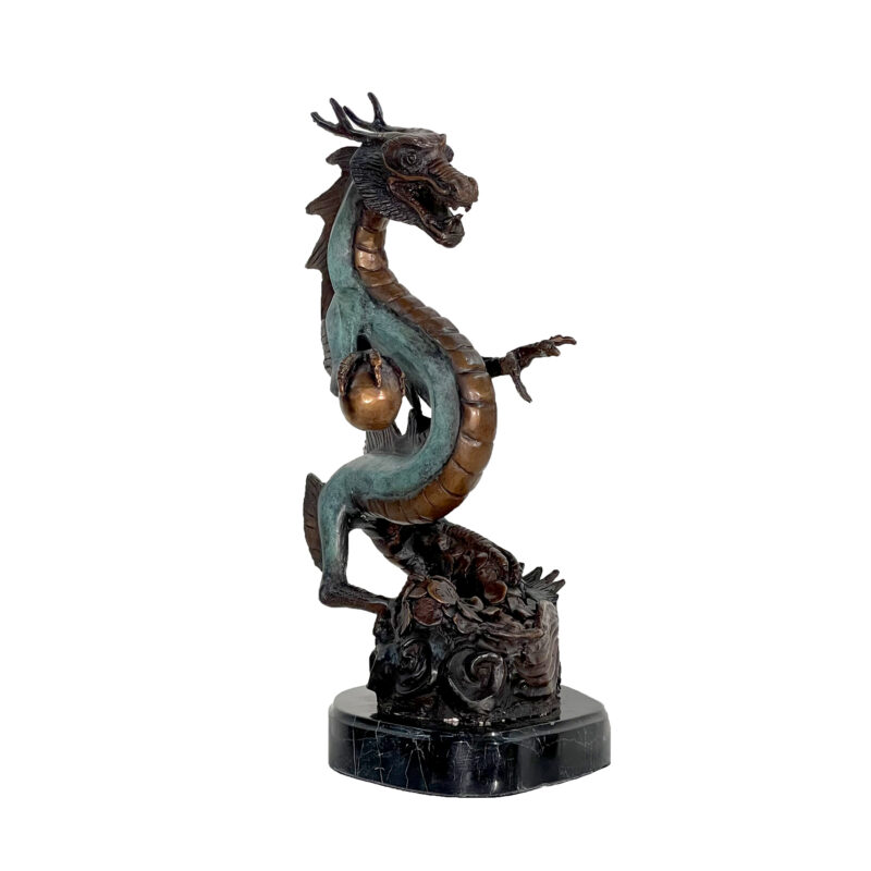 SRB088060 Bronze Asian Dragon with Ball Sculpture on Marble Base by Metropolitan Galleries Inc