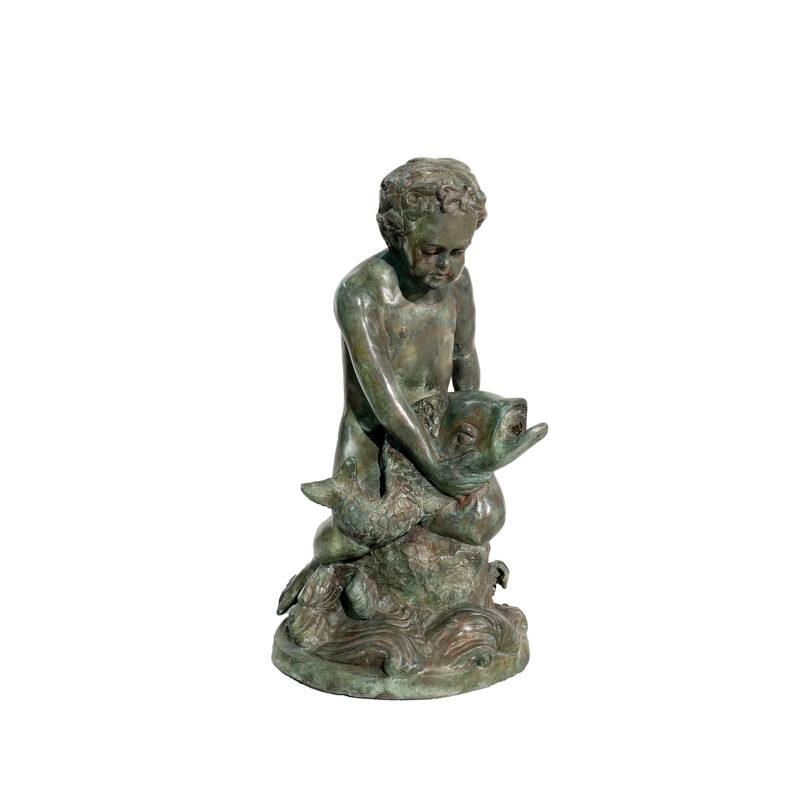 SRB991515-VG Bronze Putto Boy holding Fish Fountain Sculpture in Verdigris Patina by Metropolitan Galleries Inc