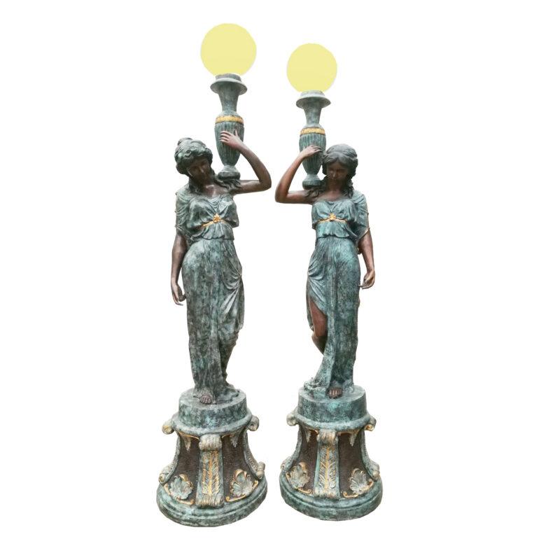 SRB704455 Bronze Lady holding Urn Torchiere Sculpture Pair by Metropolitan Galleries Inc