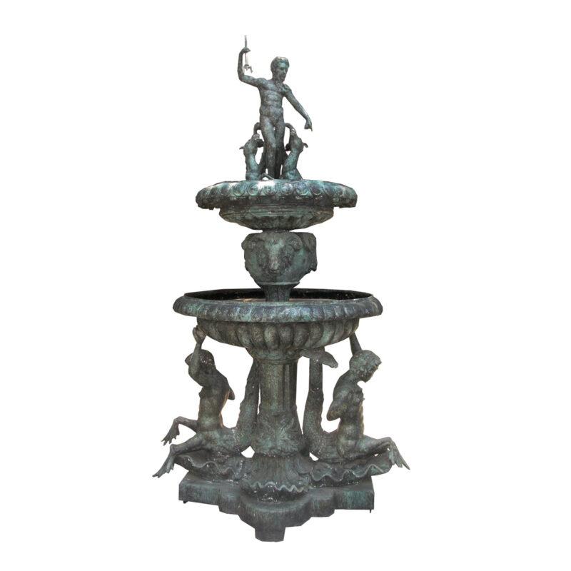 SRB705003 Bronze Merman Neptune Tier Fountain by Metropolitan Galleries Inc