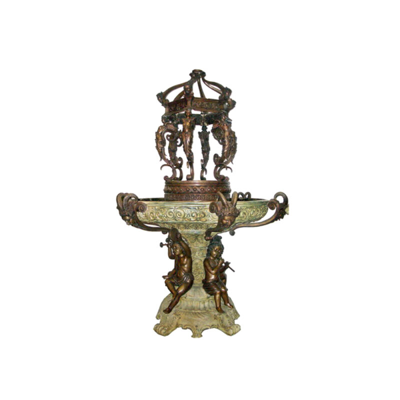 SRB705630 Bronze Musical Cherubs Caryatid Fountain by Metropolitan Galleries Inc