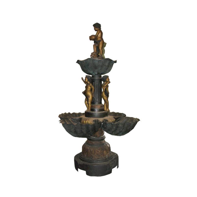SRB705008 Bronze Three Boys Tier Fountain by Metropolitan Galleries Inc